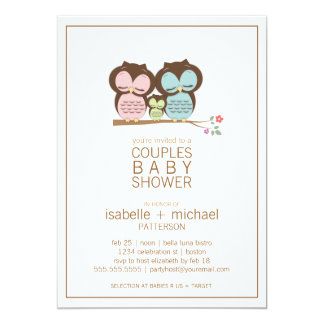 Cute Owl Family Couples Baby Shower Neutral Card