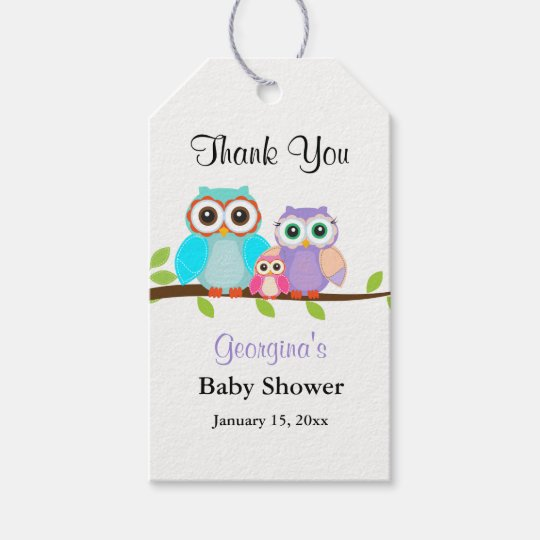 Cute Owl Family Girl Baby Shower Gift Tags