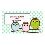 Cute Owl Family LIght Green Tutor Business Card