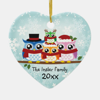 Cute Owl Family of Four Heart Ornament