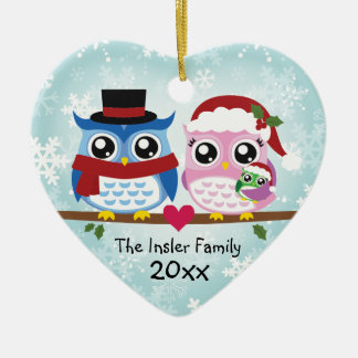 Cute Owl Family of Three Heart Ornament