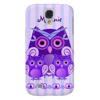 Cute owl family on striped background with Name Galaxy S4 Case