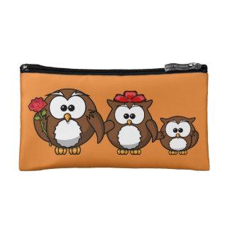 Cute Owl family orange Cosmetic Bag