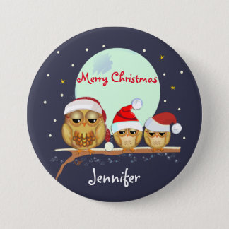 Cute Owl family with Santa hats & custom name 7.5 Cm Round Badge