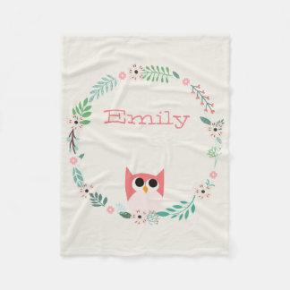 Cute Owl Fleece Blanket