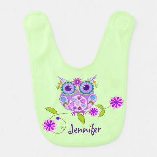 Cute owl, flowers and custom name bib