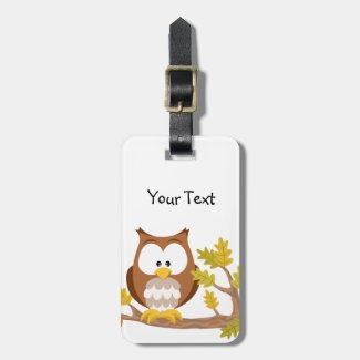 Cute Owl forest series luggage tag