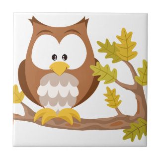 Cute Owl forest series Small Square Tile