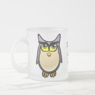 Cute Owl Frosted Glass Coffee Mug