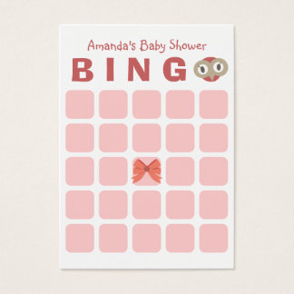 Cute Owl Girl 5x5 Baby Shower Bingo Card