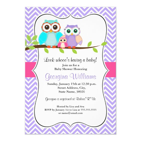 Cute Owl Girl Baby Shower Invitation Pink &