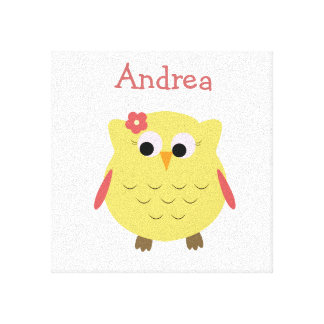 Cute Owl girl for nursery Gallery Wrapped Canvas