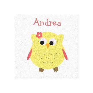 Cute Owl girl for nursery Canvas Prints