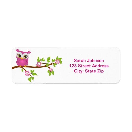 Cute Owl Girl on a Branch Return Address