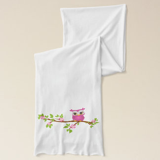 Cute Owl Girl on a Branch Scarves
