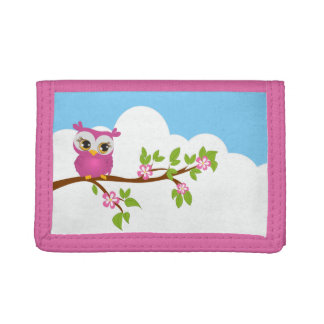 Cute Owl Girl on a Branch Wallet