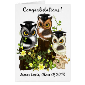 Cute Owl Graduation To Customize With Class Names Greeting Card
