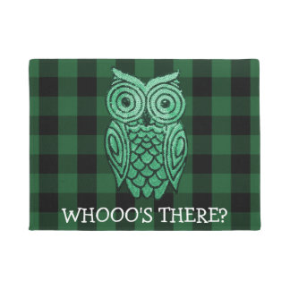 Cute Owl Green Rustic Lumberjack Plaid Who's There Doormat