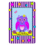 Cute Owl Happy Birthday text Photo Magnet
