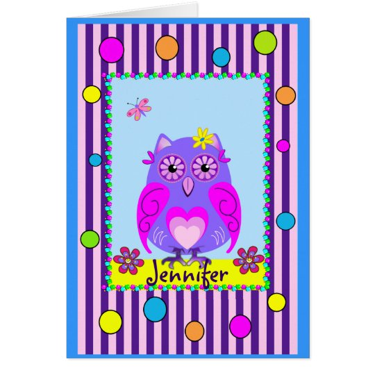 Cute Owl Happy Name & Birthday text Card