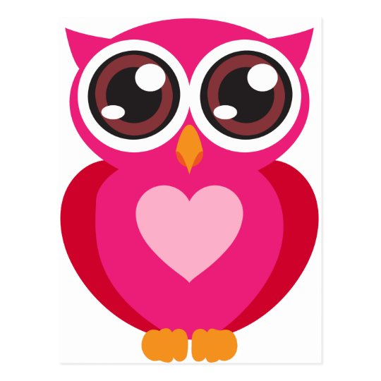 Cute owl heart postcard