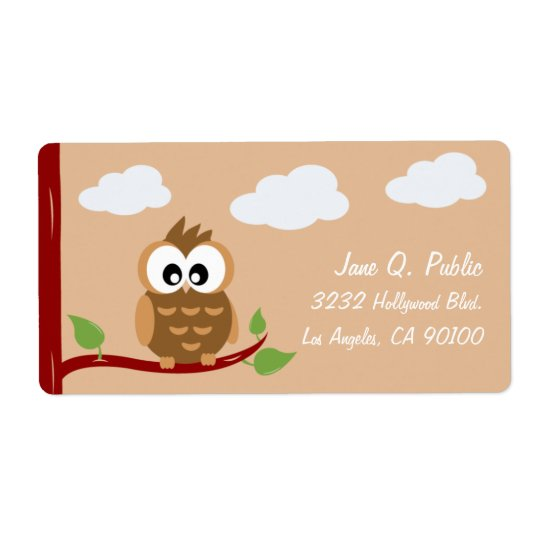 Cute Owl Hoot WooHoo Shipping Label