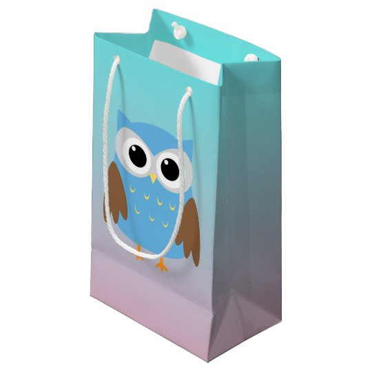 Cute Owl Illustration Small Gift Bag