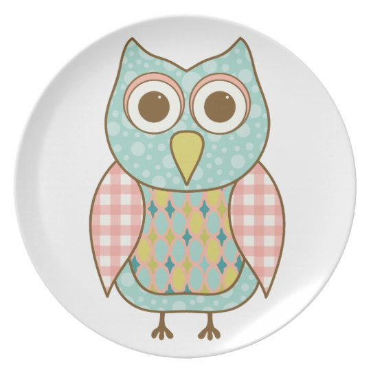 Cute Owl in Pink and Blue Plate
