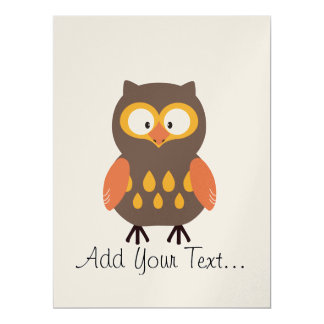 "Cute Owl 6.5"" X 8.75"" Invitation Card"