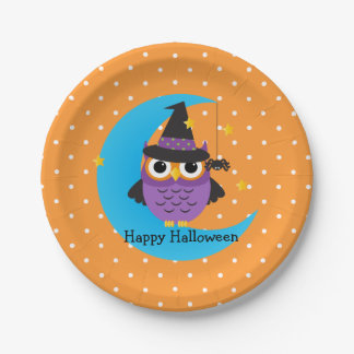 Cute Owl Kids Halloween Party Paper Plates