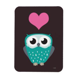 Cute Owl & Love Heart Premium Magnet