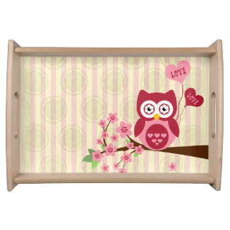 Cute Owl Love Serving Tray