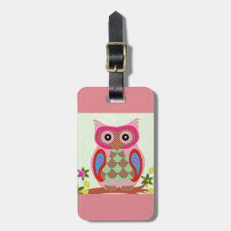 Cute owl luggage tag