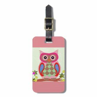 Cute owl luggage tag