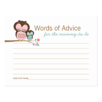 Cute Owl & Mama Words of Advice Mommy Cards