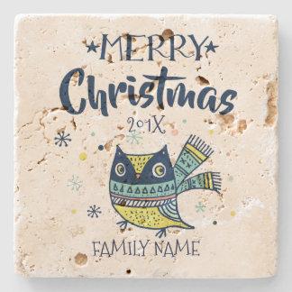 Cute Owl & Merry Christmas Typography Stone Coaster