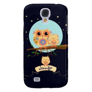 Cute Owl Mom with Baby & custom name Galaxy S4 Case