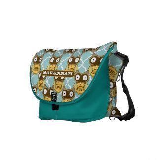 Cute Owl Morrish Trellis Pattern You Choose Colors Commuter Bags