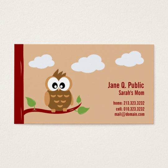 Cute Owl Mummy Calling Business Card