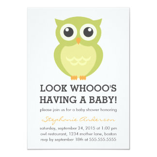 Cute Owl Neutral Baby Shower Invitations