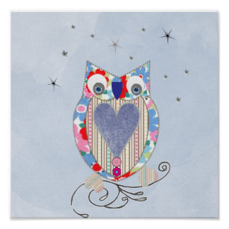 Cute Owl Nursery Picture Print Cross Stitch look F