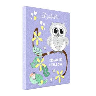 Cute Owl Nursery wall art canvas lilac
