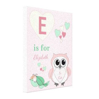 Cute Owl Nursery wall art canvas pink