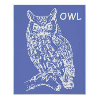 Cute Owl Nursery Wall Art Poster