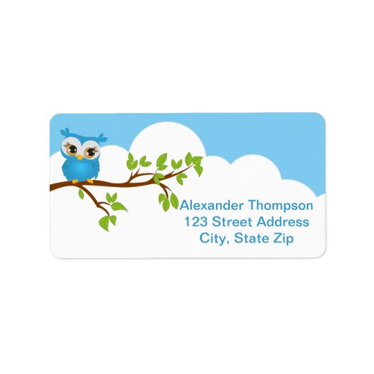 Cute Owl on a Branch Boy Address Label