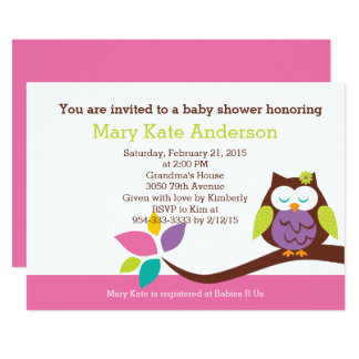 Cute OWL on a branch Girl Animals Baby Shower Card