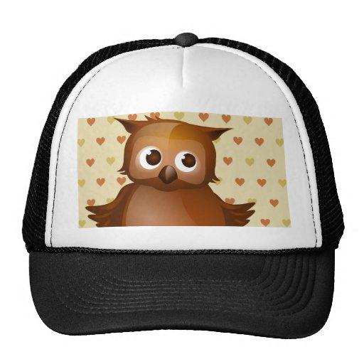 Cute Owl on Beige Heart Pattern Background Mesh Hats