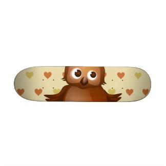 Cute Owl on Beige Heart Pattern Background Skateboard Deck