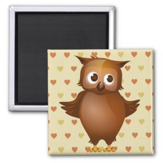 Cute Owl on Beige Heart Pattern Background Square Magnet
