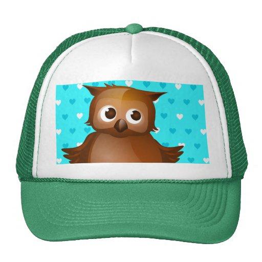 Cute Owl on Blue Heart Pattern Background Mesh Hats